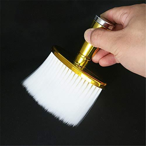 ZHDXW Soft Hair Brush Neck Duster Friseur Haarschneiden Reinigungsbürste Face Duster Brush mit langem Griff für Friseure und Friseure,Golden