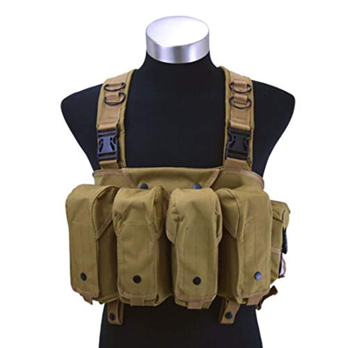 WOLFBUSH AK Chest Rig Tactical Chest Rig Adjustable Rapid Assault Tactical Vest for Hunting, Shooting, Wargame, Airsoft and Other Outdoor Sport Activites (Tan)