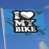 ShiHaiYunBai Flagge/Fahne, Outdoor/Indoor Garden Flag I Love My Bike 100% Polyester Single Layer Translucent Flags (3 X 5 Foot)