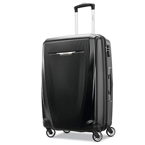Samsonite Winfield 3 DLX Hardside Expandable Luggage with Spinners, Black, Checked-Medium 25-Inch