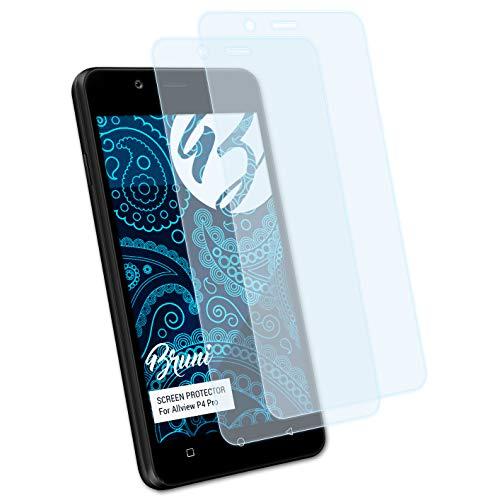 Bruni Schutzfolie kompatibel mit Allview P4 Pro Folie, glasklare Bildschirmschutzfolie (2X)