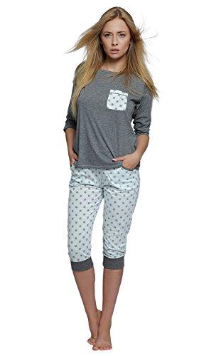 S& SENSIS edler Baumwoll-Pyjama Hausanzug (Made in EU) aus wunderschönem Oberteil und toller Hose in zartem Design, Gr. 38, Grau/Weiß mit Sternen