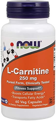NOW Supplements, L-Carnitine 250 mg, Purest Form, Amino Acid, Fitness Support*, 60 Veg Capsules
