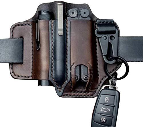 CZYSKY EDC lederscheide, Leder Multitool Halter Tasche, Taschenaufbewahrungstasche mit Schlüsselbund und Taschenlampenscheide Multitool-Tasche schwarz 2 braun