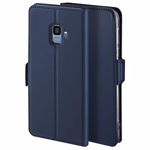 HoneyCase für Handyhülle Samsung Galaxy S9 Hülle Leder Premium Tasche Case für Samsung Galaxy S9, Schutzhüllen aus Klappetui mit Kreditkartenhaltern, Ständer, Magnetverschluss, Blau