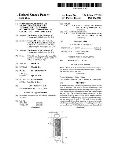 Compositions, methods and microfluidics device for telomerase based in vitro diagnostic assays for detecting circulating tumor cells (CTC): United States Patent 9846157 (English Edition)