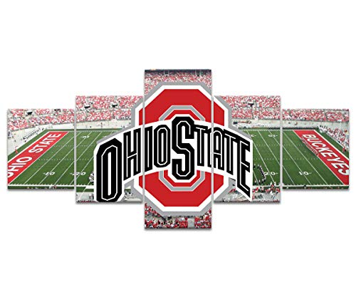 Ohio State Buckeyes Wall Decor Art Paintings 5 Piece Canvas Picture Artwork Living Room Prints Poster Decoration Wooden Framed Ready to Hang(50''Wx24''H)