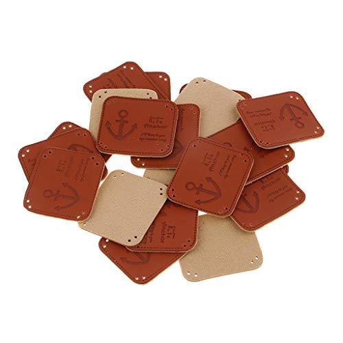 20Pcs Handmade Label Etikett Kunstleder Labels Webetiketten 35x40mm Lederlabel Schilder Aufnäher Handarbeit DIY - Anker