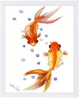 "Americanflat Feng Shui Goldfish Koi 1 White Frame Print by Suren Nersisyan, 9"" H x 11"" W x 1"" D"