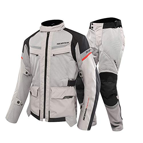 OTRG Motorradkombi Herren (Jacke + Hosen) 11 Stück Eva-Schutzrüstung 600D Polyester atmungsaktives Mesh Für Radsport, Motorrad, Langlauf,Gray,XXXL