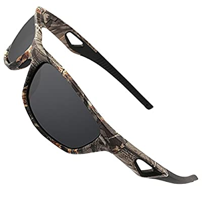 MOTELAN Polarized Outdoor Sports Sunglasses Tr90 Camo Frame for Men Women Driving Fishing Hunting Reduce Glare (Black Grey (Upgraded))