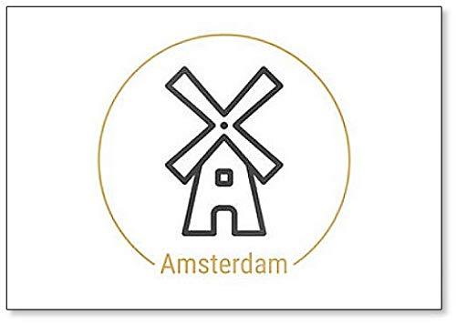 Amsterdam, Nederland Minimalistische Abstract Illustratie Klassieke Koelkast Magneet