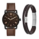 Fossil Men's Copeland Stainless Steel Quartz Watch with Leather Strap with Brown Multi-Strand Braided Leather Bracelet