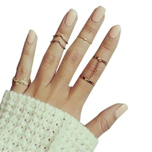 Bague, Malloom 6pcs / Set Urbain Anneaux De Cristal Au-Dessus De Knuckle Empilage Bande Midi Mid Ring