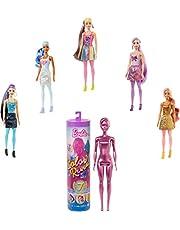 Barbie Color Reveal docka med avslöjande effekt med 1 överraskningsdocka och andra överraskningar, leksak från 3 år