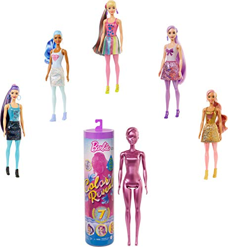 Barbie Color Reveal Doll with 7 Surprises [Styles May Vary]: 4 Mystery Bags; Water Reveals Doll's Look & Color Change on Bodice & Hair; Shimmer Series; Gift for Kids 3 Years Old & Up