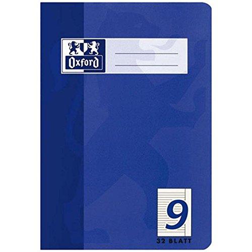 Oxford Schule Schulheft A5, liniert, Lineatur 9, 32 Blatt, blau, 10er Pack