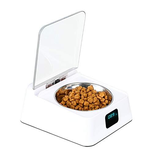 LJT Automatic Pet Feeder, Futternapf, automatische Deckelöffnung mit Infrarotsensor, feuchtigkeitsbeständige Smart Feeder Cat/Dog Bowl,White,21x17x9cm