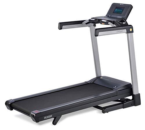 LifeSpan Fitness TR3000iT Laufband | elektrisch und klappbar, 18 km/h | LCD-Anzeige mit Bluetooth USB | Lautsprecher | Lüfter | belastbar bis 159 kg | Transporträder