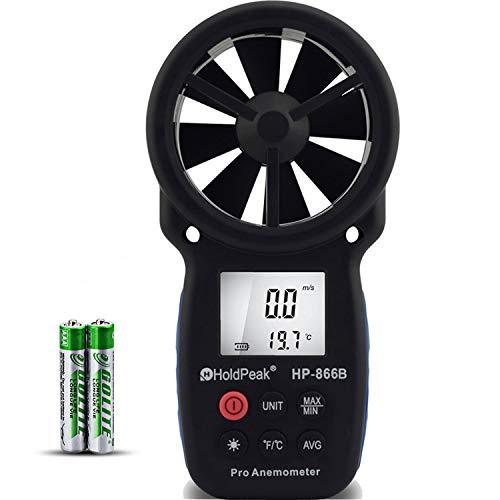 HoldPeak Anemometro Digital HP-866B de Mano Para Medir la Velocidad del Viento,Medición de la Velocidad del Viento, Temperatura y Viento Frío,con LCD Retroiluminación y Retención de Datos