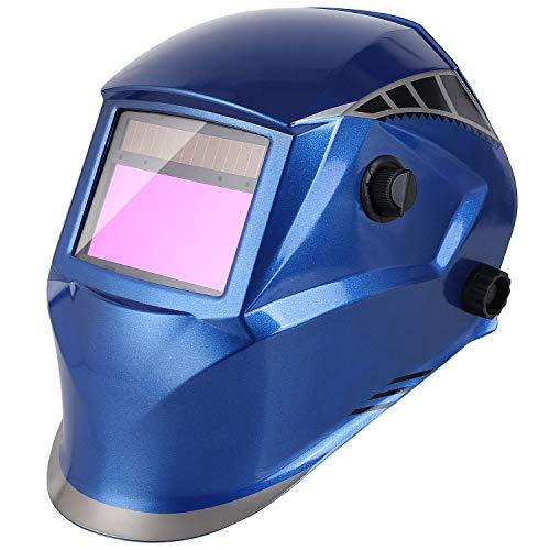 FIXKIT Schweißhelm, automatische Schweißmaske mit 16 Ebenen UV-Schutzstufen und 4 optischen Sensoren (Dunkelzustand: DIN 5-9/9-13), inkl. 6 Wechselgläser (Blau)