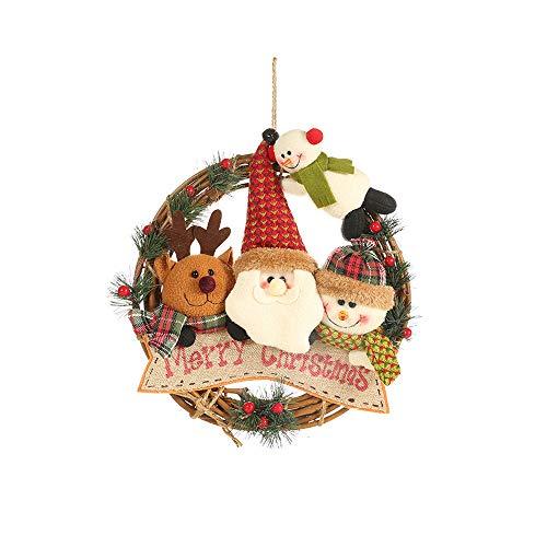 DAYOLY Xmas Natuurlijke Garland Hanger met Sneeuwman Kerstman Elk Kerstpop Hanger Opknoping Voordeur Kranen voor Party Home Xmas Tree Window