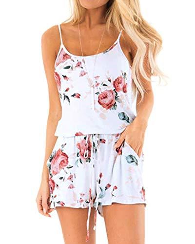 Style Dome Jumpsuit Damen Kurz Overall Blumen Sommer Playsuits Ärmellos Einteiler Romper Elegant Spagettiträger Stretch Weiß-B16101 XL