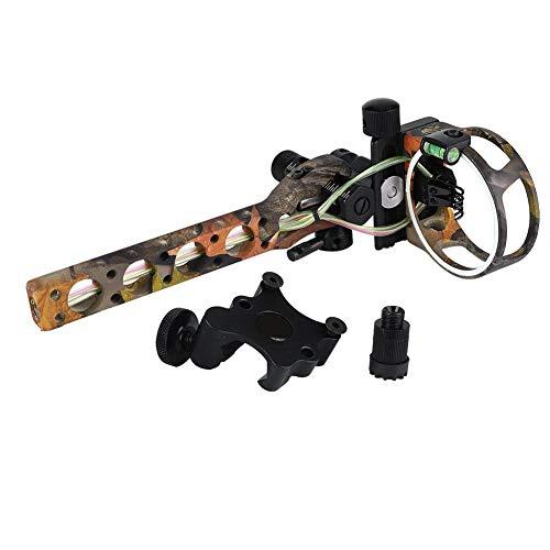 Tihebeyan Compound Bow Sight, 5 Pin 019'Mirino in Fibra tiro con L'Arco, Luce con Staffa Rimovibile, microregolare Vista(Camouflage Color)