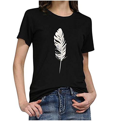 YANFANG Camisetas Mujer Manga Corta básica,Moda Mujer O-Cuello Camiseta de Manga Corta Estampado de Plumas Casual Top tee Blusa Deportivo,Fitness,devertidas
