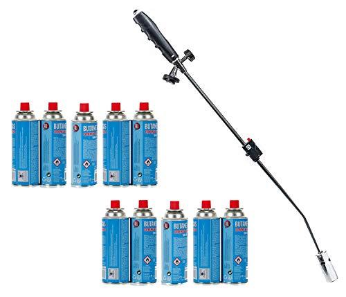 Unkrautbrenner mit Gaskartuschen Abflammgerät Gasbrenner Piezo Zündung Unkrautvernichter Brenner (Unkrautbrenner + 10 Gaskartuschen)