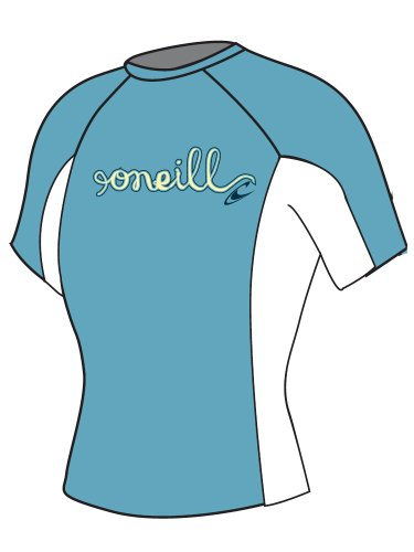 O'Neill Wetsuits Girl's Skins Short Sleeve Crew Rash Guard (Aruba/White/Aruba, 4)