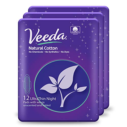 Veeda Ultra Thin Super Absorbent Night Pads Are Always Chlorine, Dye and Fragrance Free, Natural Cotton Sanitary Napkins,3 Packs of 12 Count Each