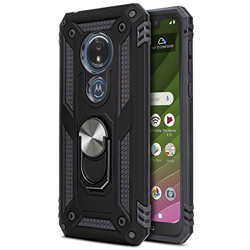 CasemartUSA Phone Case for [Motorola Moto G7 Optimo (XT1952DL, XT1952)], [Loop Series][Black] Rotating Metal Ring Cover with Kickstand for Moto G7 Optimo (Tracfone, Straight Talk, Total Wireless)