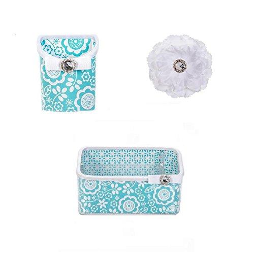 Lockerlookz/Roomlookz Acrylic Magnetic Aqua Bin, Aqua Poppy Caddy, and Jeweled Peony Flower Magnet Limited Edition (Set of 3) (Aqua)