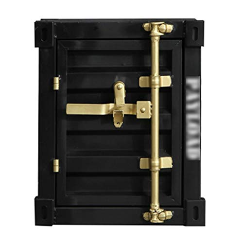 Safes Safety, Retro Box ijzeren kast kast vitrine - zwart gelakt goud - 40X38X48cm verzekering doos Safebox