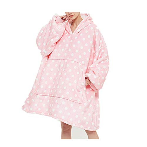 Sticker Superb. Galaxis Star Punkt Pfirsich Leopard Kuh Hoodie Sweatshirt, 1 Größe passt alle Männer Frauen, Kapuzenpullover Decke, Plüsch Pullover Weiche Riesen Hoodie Fronttasche Sweatshirt (Rosa)