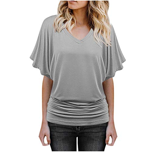 T Shirt for Women Solid Color Tee Short Sleeve Boat Neck V Neck Dolman Tops Blouse Tunic with Side Shirring