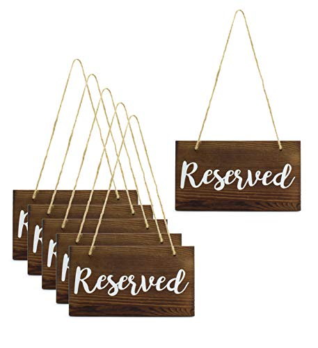 Darware Hanging Wooden Reserved Signs (6-Pack); Rustic Style Wood Signs for Weddings, Special Events, and Functions to Hang on Chairs, in Doorways, or for Aisles and Rows