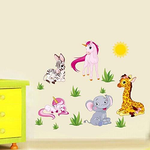 QTYUE Forest Animal Cartoon Muurstickers voor kinderkamers Kleuterschool Paard Olifant X012 Home Decor DIY Wallpaper Art Decals