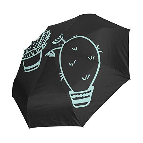 FANTAZIO drievoudige Travel Paraplu Bijzondere Cactus Patroon auto open paraplu Lichtgewicht