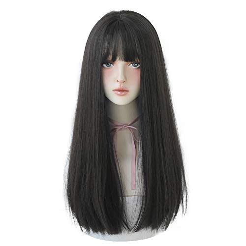 7JHH WIGS Hair Dye Wig for Women Synthetic Hair Natural Long Straight Wig With Bangs (22inch, Black)