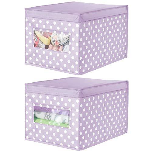 mDesign Juego de 2 cajas organizadoras de tela – Caja de almacenaje apilable para guardar ropa y zapatos o para ordenar armarios – Organizador de armarios con tapa y ventanilla – violeta/blanco