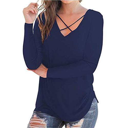 Suéter Ligero de Primavera y otoño para Mujer Informal de Gran tamaño de algodón Holgado Blusa con Parte Superior Cruzada Frontal Sexy Camiseta Ropa Camisetas Blusas Informales de Manga Larga