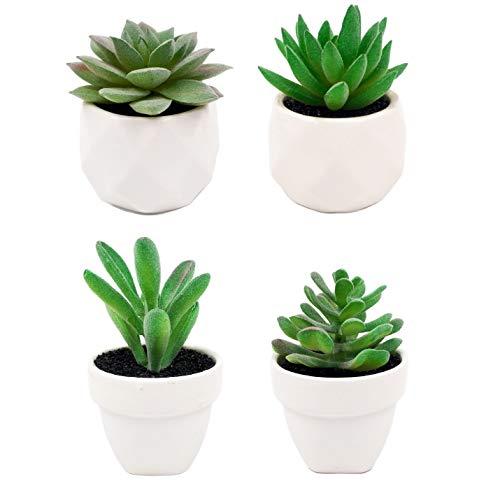 Duteflower - Juego de 4 pequeñas suculentas artificiales con diseño realista, plantas artificiales para decoración de baño