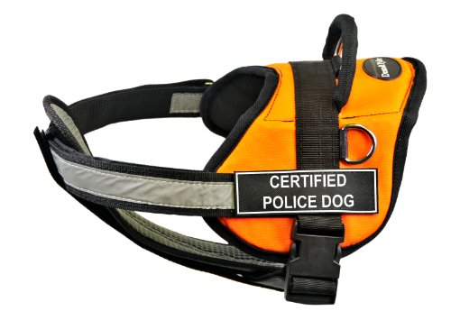 Dean & Tyler 71,1 cm bis 96,5 cm zertifiziertes Polizei-Hundegeschirr mit gepolsterten, reflektierenden Brustgurten, Größe M, Orange/Schwarz