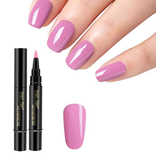 1 Stück 3 in 1 Schritt Nagelgel Lacklack Pen One Step Nagel UV Gel verwenden - Nail One Step Nagellack Stiftform QQ Nagellack Kleber 18 Farbe Nagellack (L)