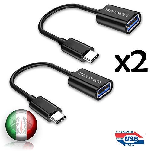 TECHSIDE Adattatore USB type C 3.1 10 Gbps [Confezione da 2] | Adattatore da USB C Maschio a USB A Femmina |Trasmissione e caricamento dati | Cavo OTG USB Tipo C 3.1 Nero