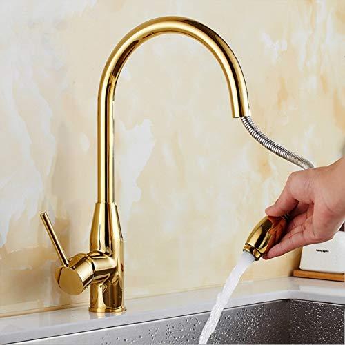 YHSGY Küchenarmatur Küchenarmatur Messing Küchenspüle Herausziehen Küchenarmatur Waschbecken Mischbatterie Mit Herausziehen Duschkopf