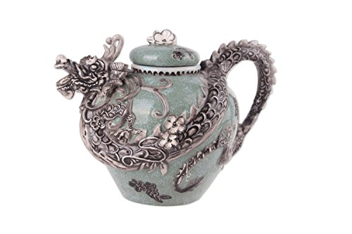 Blue Sky Ceramic Dragon Teapot, 10 x 7 x 7', Green