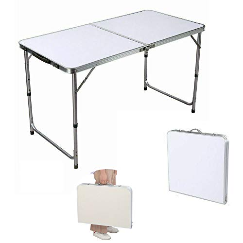 Efan 4ft Heavy Duty Folding Camping Table, Portable Adjustable Height Lightweight Picnic Table with Carry Handle, for Outdoor Garden Party BBQ Indoor Dining Writing Study Coffee Desk - 120x60x70cm